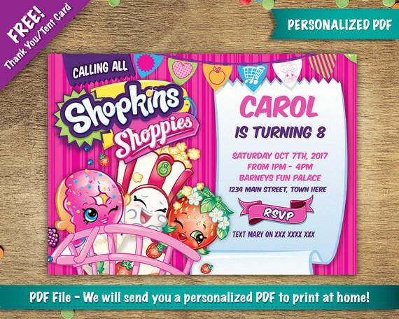 Personalizada Cumpleaños Shopkins Fiesta Invitación Gracias Gratis Tarjeta Incluida La Tienda Descarga Digital Archivo Pdf
