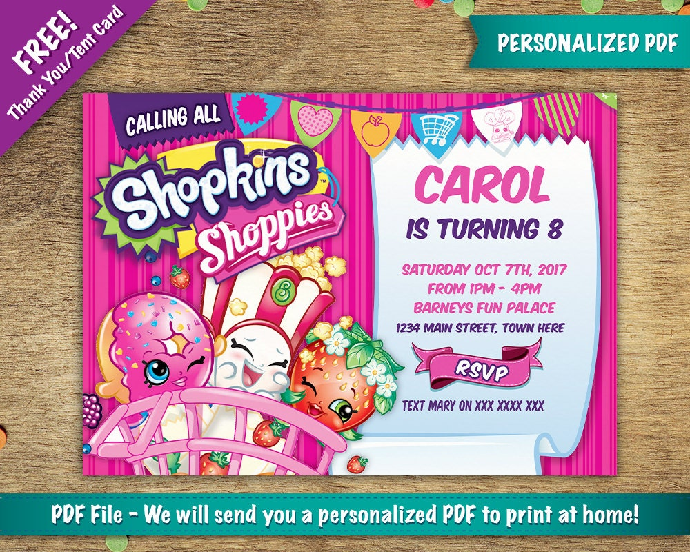 Personalisierte Einladung zur Geburtstagsfeier von Shopkins