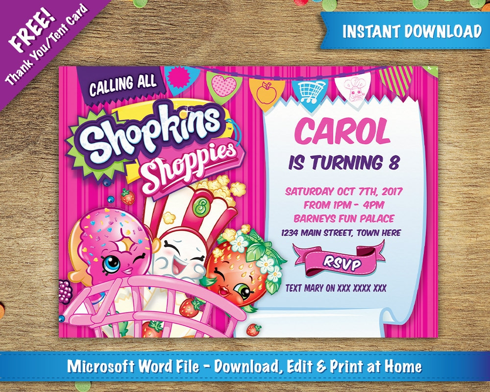 image relating to Shopkins Invitations Free Printable referred to as Do-it-yourself Printable 5x7 Shopkins Birthday Bash Invitation Template No cost Thank On your own / Tent Card Provided Quick Down load - Microsoft Phrase
