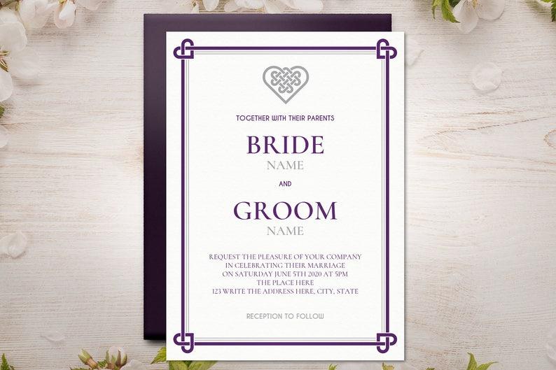 Knot Purple Herat Irish | Celtic DIY Printable Wedding Invitation Template Set INSTANT DOWNLOAD Microsoft Word Silver
