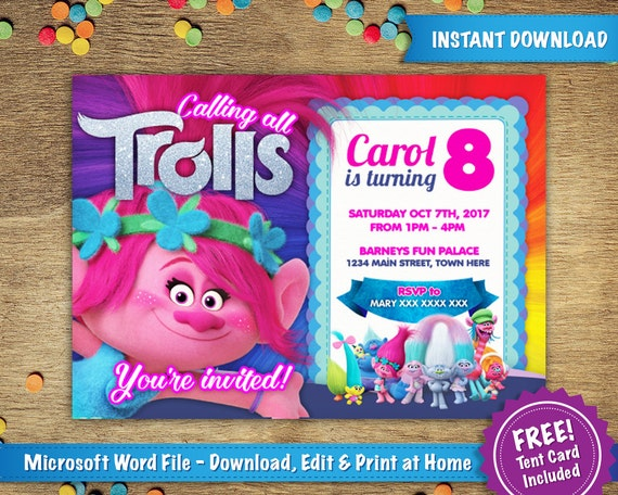 DIY Printable 5x7 Trolls Poppy Birthday Party Invitation Template