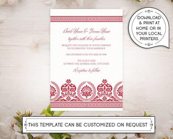 A4 Diy Printable 5x7 Wedding Invitation Template Indian Etsy
