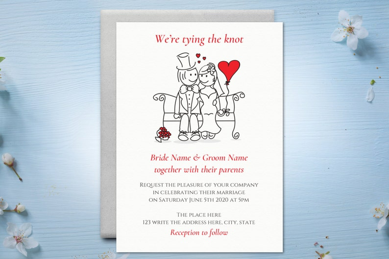 DIY Printable 5x7 Wedding Invitation Template