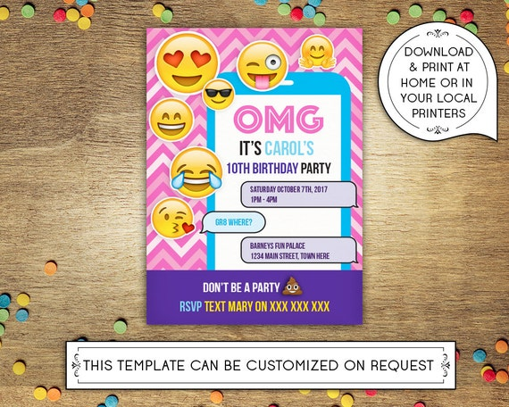 Diy Printable 5x7 Birthday Party Invitation Template Emoji Childs Mobile Text Message Girls Instant Download Microsoft Word