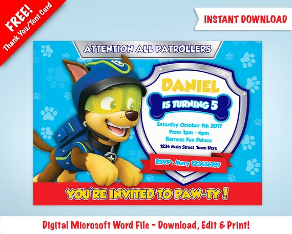 Diy Printable Chase Paw Patrol Birthday Party Invitation Template Free Thank You Tent Card Included Instant Download Microsoft Word