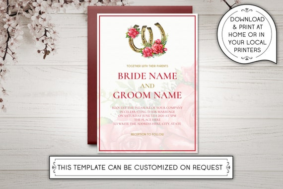 diy printable 5x7 wedding invitation template red gold etsy