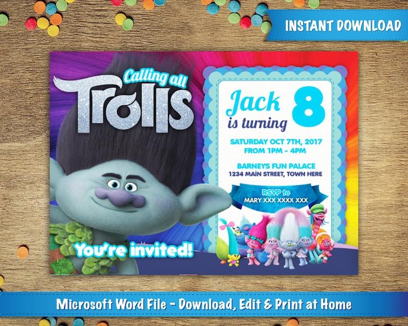 DIY Printable 5x7 Trolls Birthday Party Invitation Template