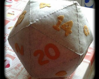 20 Sided Dice - Felt Dice - D20 Pillow - Role playing games