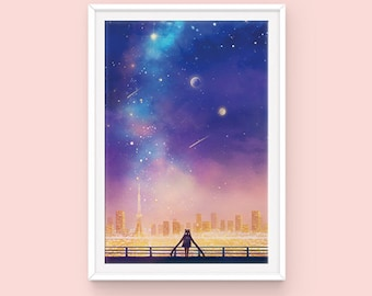 Sailor Moon Poster: Cosmic Love, Usagi Tsukino, Sailor Moon Fanart, Serena Tsukino, Crystal Tokyo