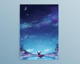 Pokemon Eevee Postcard, Eeveelutions, Eevee flower crown, Eevee evolutions, Eevee's Dream, Pokemon Fanart, Eevee Fanart, Eevee art