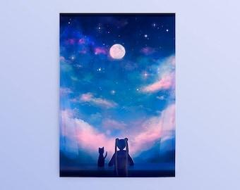 Sailor Moon Window Postcard, Sailor Moon and Luna, Usagi Tsukino, Luna, Anime Postcard, Moon and Stars