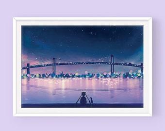 Sailor Moon and Luna Poster: Thinking of You, Sailor Moon Fanart, Usagi Tsukino, Serena Tsukino, Crystal Tokyo, Princess Serenity