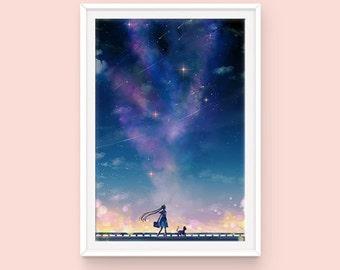Sailor Moon and Luna Poster, Usagi Tsukino and Luna, Sailor Moon Cityscape, Moon Kingdom, Sailor Moon Poster