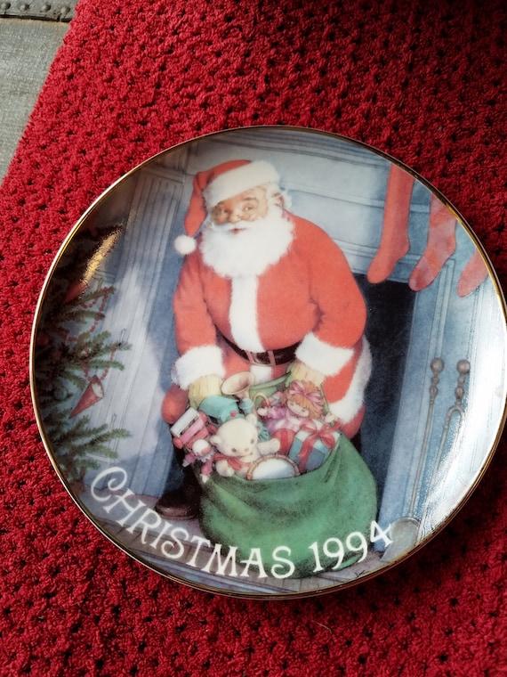 American Greetings Forget Me Not Christmas 1994 Santa Plate Etsy