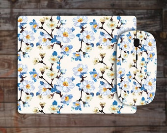 Minimal Light Blue Art Watercolor Girls Flowers Floral OOAK Wireless Wi Fi Wi-Fi Computer Laptop Mouse Matching Mousepad Mouse Pad Mouse Mat