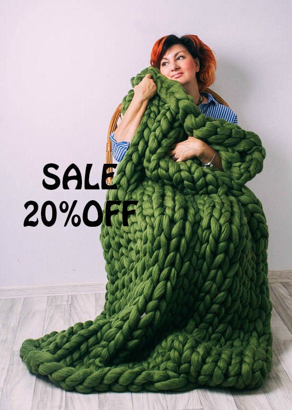 sale chunky knit blanket australian merino wool throw etsy. Black Bedroom Furniture Sets. Home Design Ideas