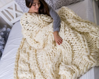 Super Chunky Cable Knit Blanket, Chunky knit Blanket, Cable knit blanket, Cable knit throw, Blanket, Throw, Merino Wool Blanket, Christmas