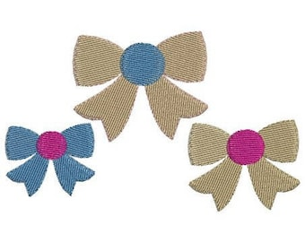 Bow embroidery design in 3 sizes