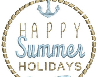 Happy summer embroidery design
