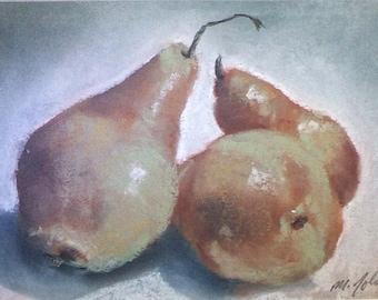 Brown Pears - small original pastel painting still life fruit kitchen art