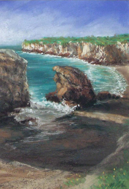 Late Afternoon - small original pastel painting coastal california seascape  cliffs shell beach waves shadows