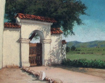 Gate to the Fields Mission San Juan Bautista - small original pastel painting Spanish California historical adobe oak shade