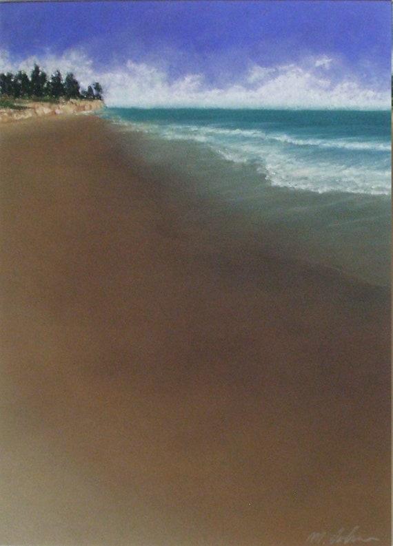 My Beach original pastel painting california seascape sand waves coastal
