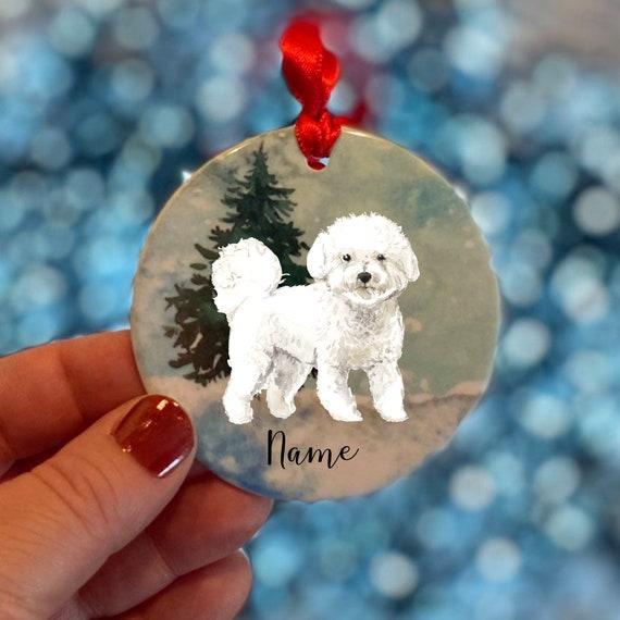 Bichon Frise Personalised Christmas Scene Ceramic Dog Etsy