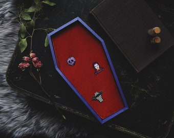 LARGE Metallic Purple & Burnt Orange Velvet Coffin Pin Board ©