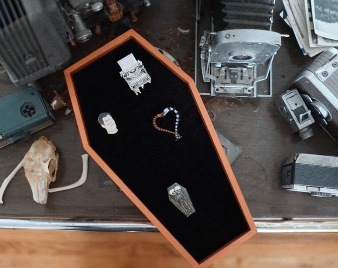 LARGE Rose Gold Metallic Velvet Coffin Pin Board