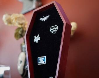 LARGE Dark Red Coffin Velvet Pin Board ©