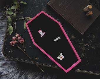 LARGE Pink & Black Velvet Coffin Pin Board ©