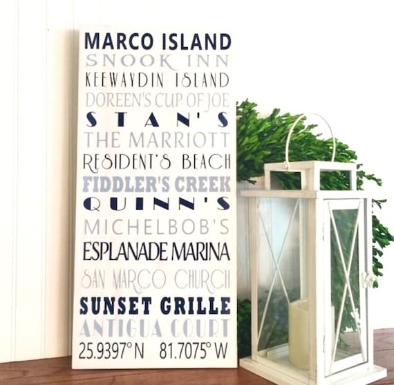 Marco Island Sign Beach Sign Beach Decor Custom Beach Sign Beach House Decor Beach House Art Marco Island Beach Wall Art