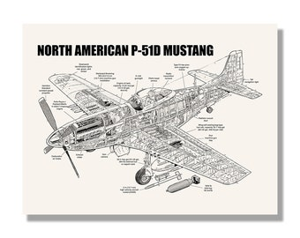 P 51 blueprint art etsy north american p 51d mustang official aviation cutaway by mike badrocke blueprint style screen print hand made wall art malvernweather Images