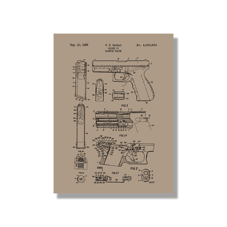 Glock 17 Handgun - Military and Weapons - Patent Poster Blueprint Style  Screen Print - Hand Made Wall Art in Multiple Colors // Gift for Him