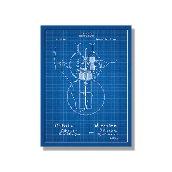Edison Electric Light Electricity And Power Patent Poster Etsy