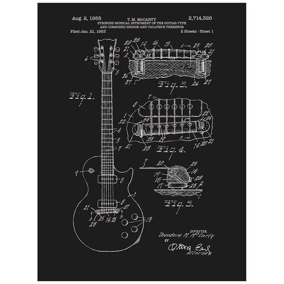Gibson Les Paul Gitarre Patent Schirm gedruckte Poster Audio   Etsy