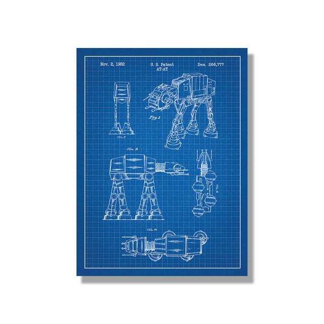 Star Wars AT-AT Screen Print ATAT Blueprint Patent Poster | Etsy