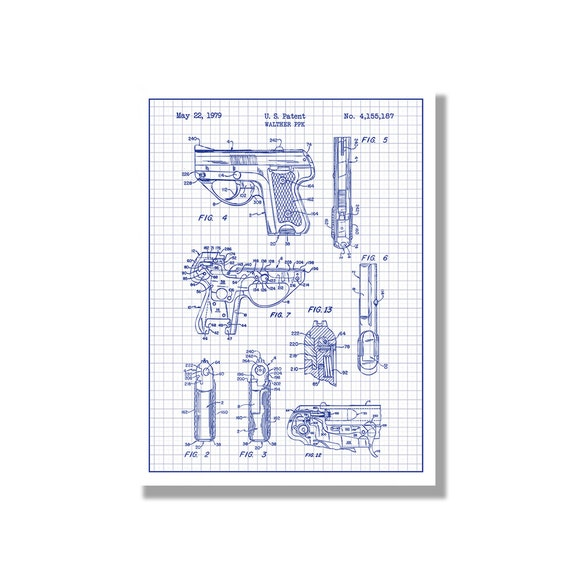 Walther Ppk Military And Weapons Patent Poster Blueprint Etsy
