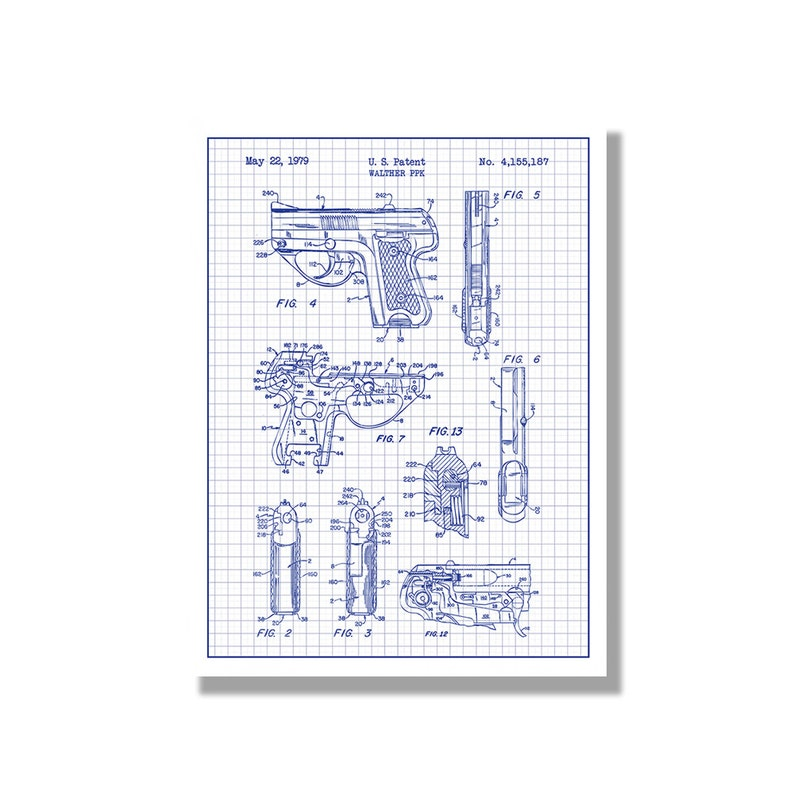 Walther PPK - Military and Weapons - Patent Poster Blueprint Style on