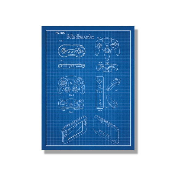Nintendo Controllers Patent Poster screen print decoration   Etsy on