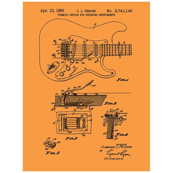 Fender Stratocaster-Gitarre Musik & Audio Patent   Etsy
