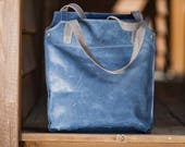 Tote bag, Leather tote, Leather bags, handbags, handmade leather purse, blue leather tote, leather shoulder bag, Crossbody strap bag,