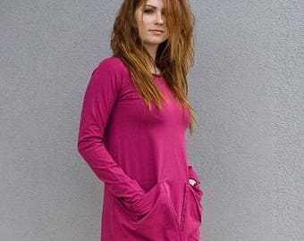 Asymmetric Dress, Long Sleeve Dress, Extravagant Dress,  Oversized  Dress ,Black, Pink Loose Dress