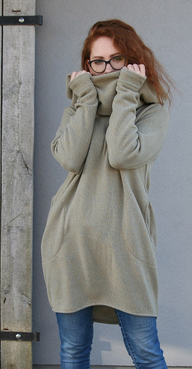 warm poncho Spring Sweatshirt Size S  Loose jumper sweater turtleneck unique clothing cotton loose sweater Handmade pullover