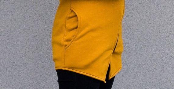 Yellow Navaho Front Hand Mustard with Sweatshirt Made Asymmetrical Navaho Clothes Sweatshirt Women's Sweatshirt by Zipper Sweatshirt wOq8TT