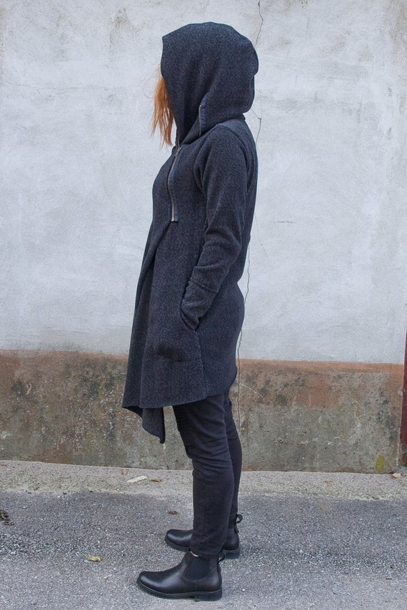 Coat Hoodie Hooded Asymmetrical Handmade Women's Gray Clothing Hoodie Zipper Coat Warm for Hoodie Front Cotton Women's gffRzwqd