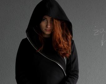 Hoodie Jacket, Elven Clothing, Gothic Asymmetrical Coat, Black Hoodie, Plus Size Hoodie, Hooded Coat, Women Hoodie, Pixie Hoodie, Big Hood