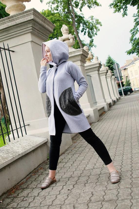 big hood Clothing Asymmetrical Gray Hoodie Hooded Hoodie Coat Women's Black Sweatshirt Black Hoodie hoodid Coat Handmade Gothic 7wxZqq6B