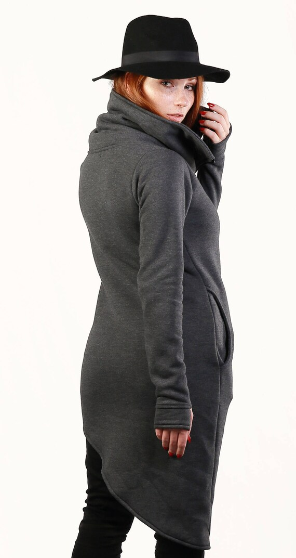 Sweatshirt Collar Dweatshirt Navaho Asymmetrical Hoodie Clothes Handmade Gray Coat with Women's Sweatshirt Color Cotton Warm qwnaBTa